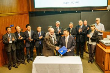 Signing of the MOA for the China-Canada Joint Centre for BioEnergy Research & Innovation: John Hepburn, VP Research and International, UBC, and Tianwei Tan, President Beijing University of Chemical Technology