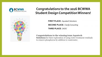 2016 BCWWA Student Design Competition Winners