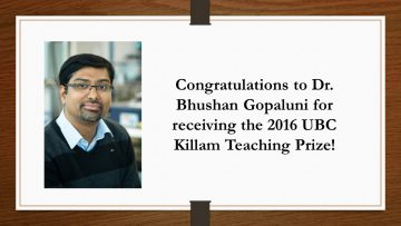 Killam Teaching Prize for Dr. Bhushan Gopaluni
