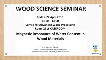 "Seminar: ""Magnetic Resonance of Water Content in Wood Materials"""