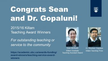 Congrats Sean and Dr. Gopaluni