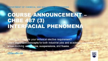 Course Announcement – CHBE 487 (3) Interfacial Phenomena