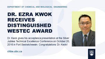 Dr. Kwok Receives WesTEC Award