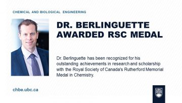 Dr. Berlinguette Awarded RSC Rutherford Memorial Medal in Chemistry