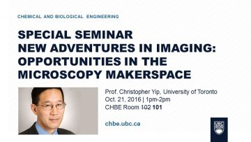 Special Seminar – Prof. Christopher Yip – Oct. 21