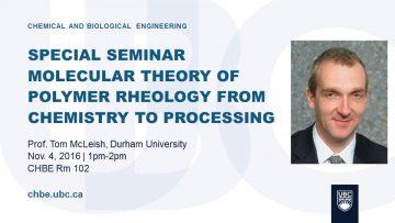 Special Seminar – Prof. Tom McLeish – Nov. 4