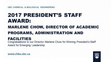 Congratulations to our Director, Marlene Chow for Winning the President's Staff Award for Emerging Leadership
