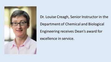 Dr. Louise Creagh receives Dean's award for excellence in service