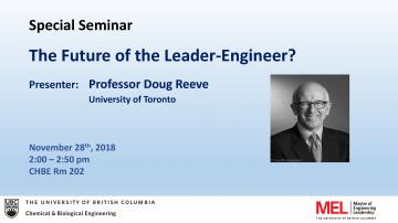 Special Seminar – Professor Doug Reeve
