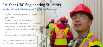 First Year UBC Engineering Students Invited to Apply to CHBE