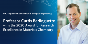 Professor Curtis Berlinguette wins the 2020 Award for Research Excellence in Materials Chemistry