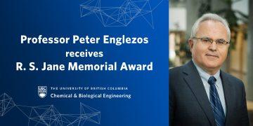 Dr. Peter Englezos Receives R. S. Jane Memorial Award